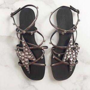 Zara lightening bolt jeweled sandals
